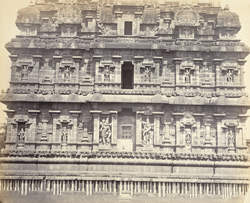 Tanjore Pagoda. The great pyramidal tower. Facade of base on west side